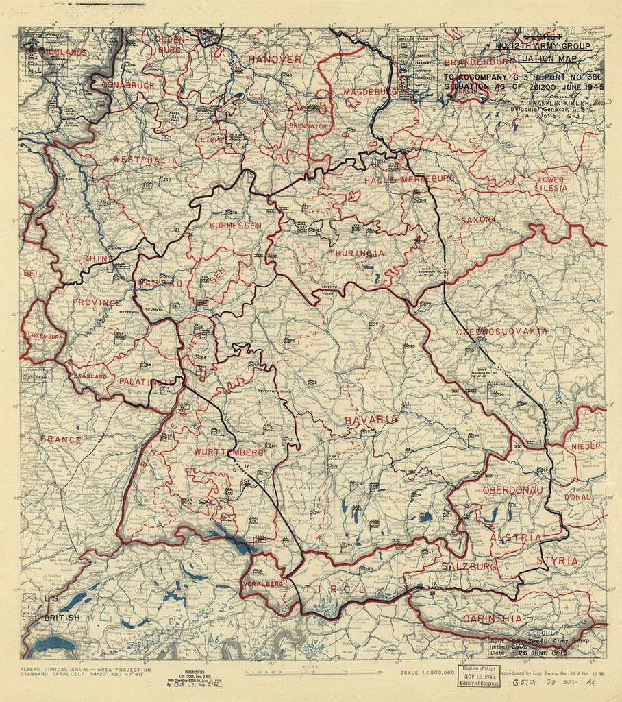 [June 26, 1945], HQ Twelfth Army Group situation map.