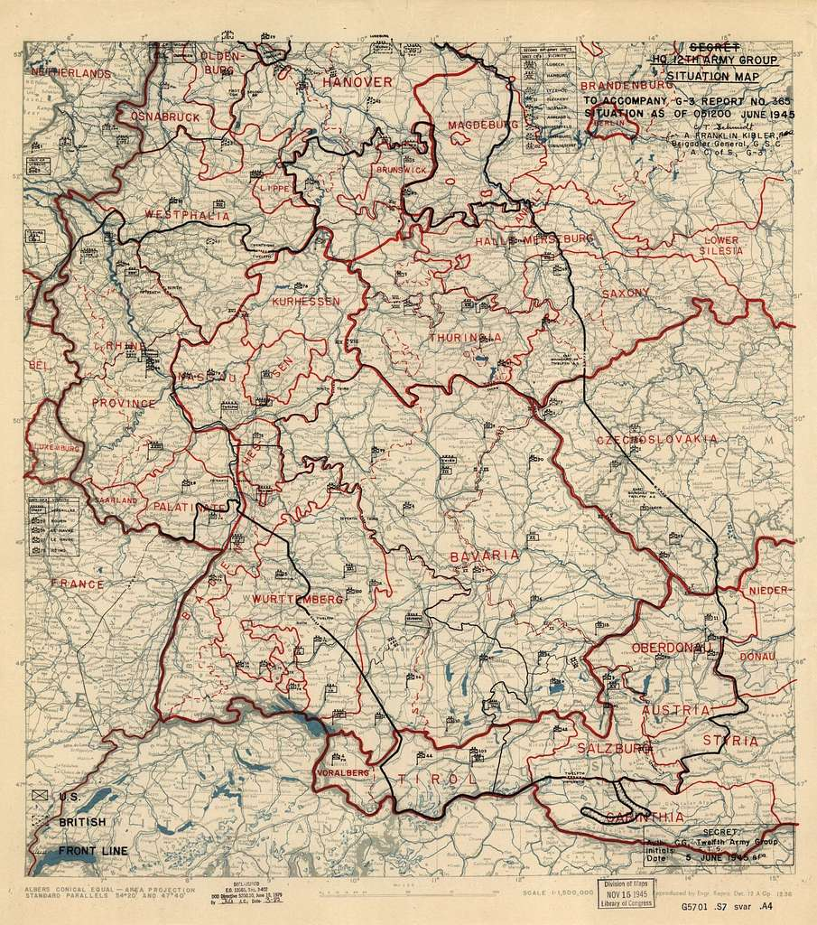 [June 5, 1945], HQ Twelfth Army Group situation map.