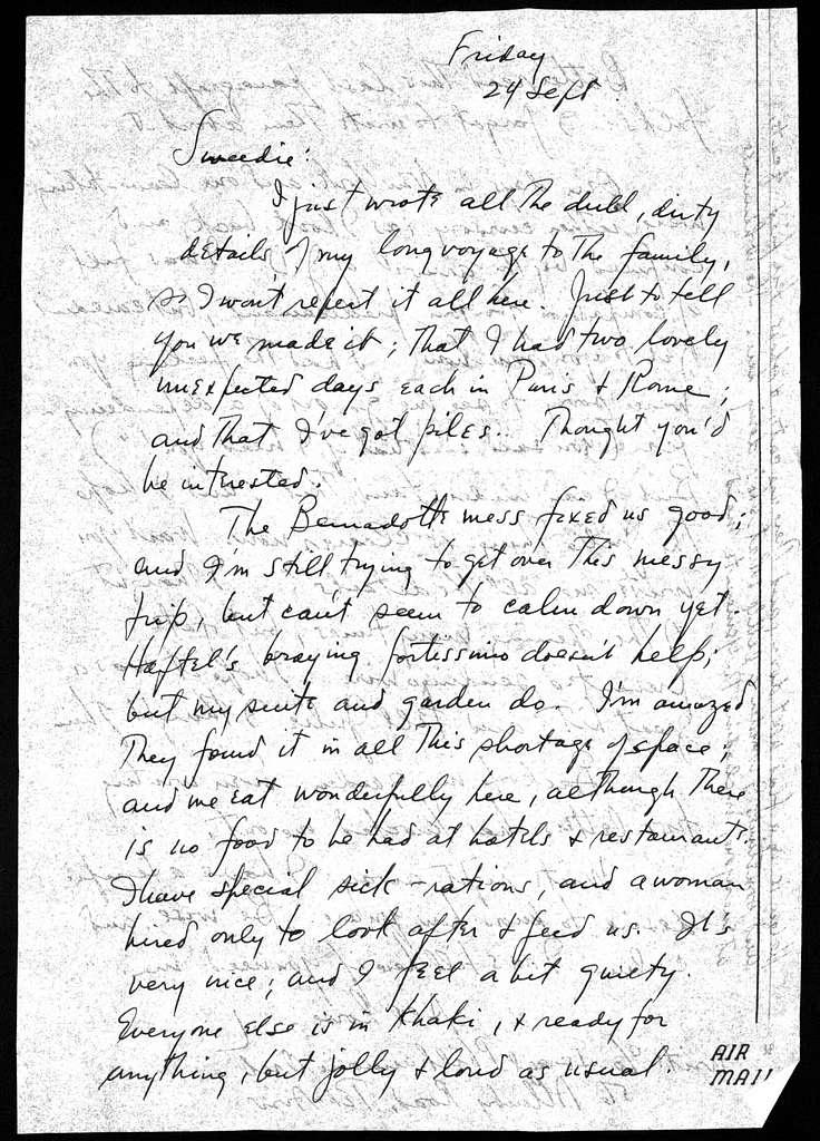Letter from Leonard Bernstein to Shirley Bernstein, n.d