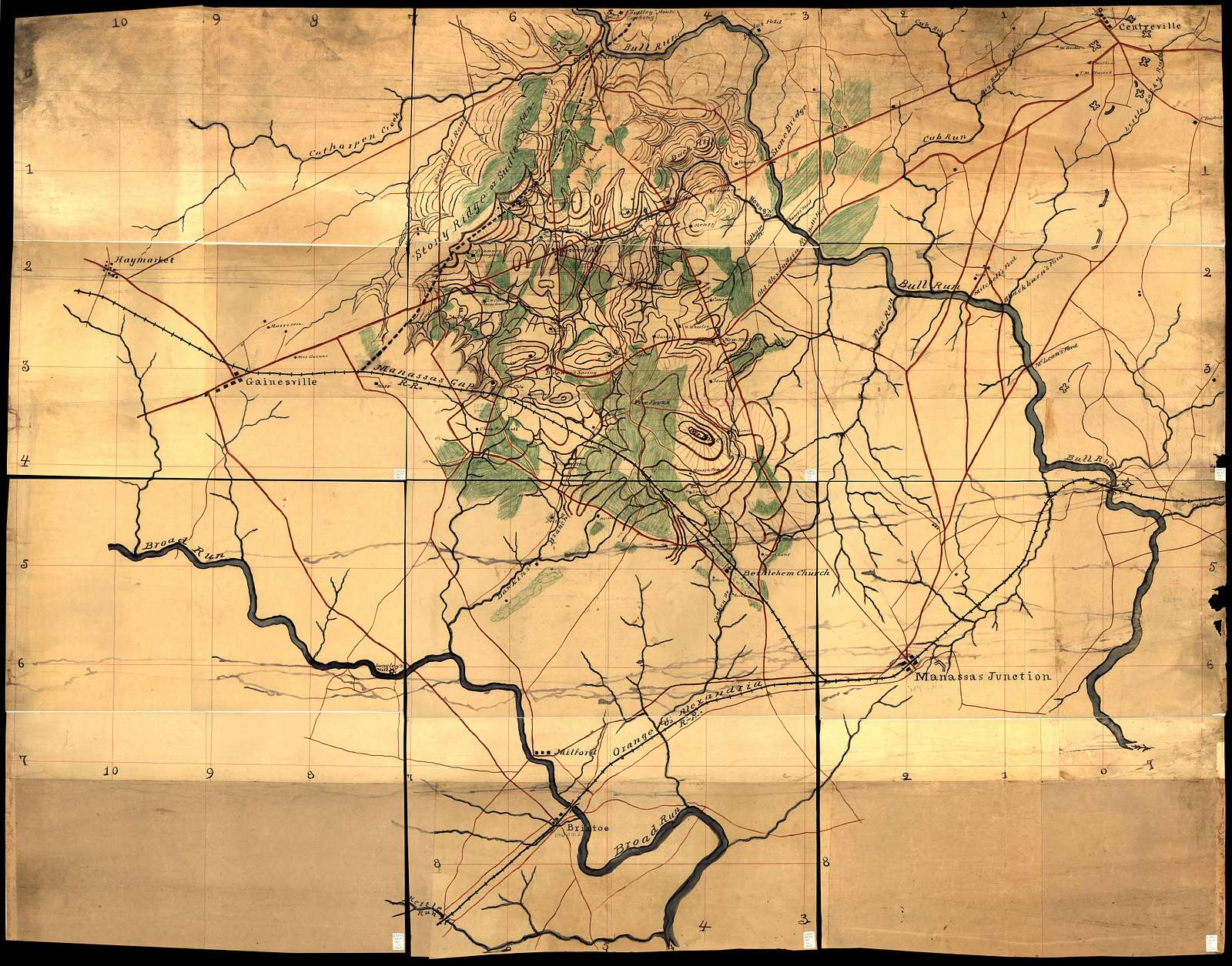 [Map of the Manassas battlefield area in Northern Virginia /