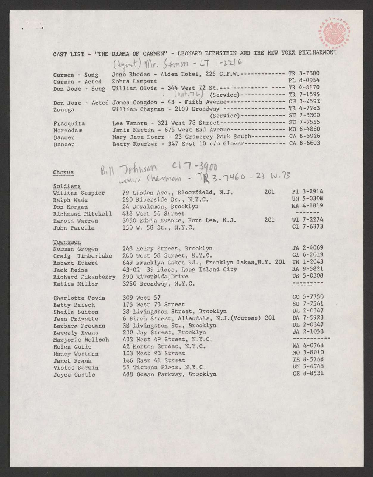 The drama of Carmen TV script, Ford Presents, 1962 March 11