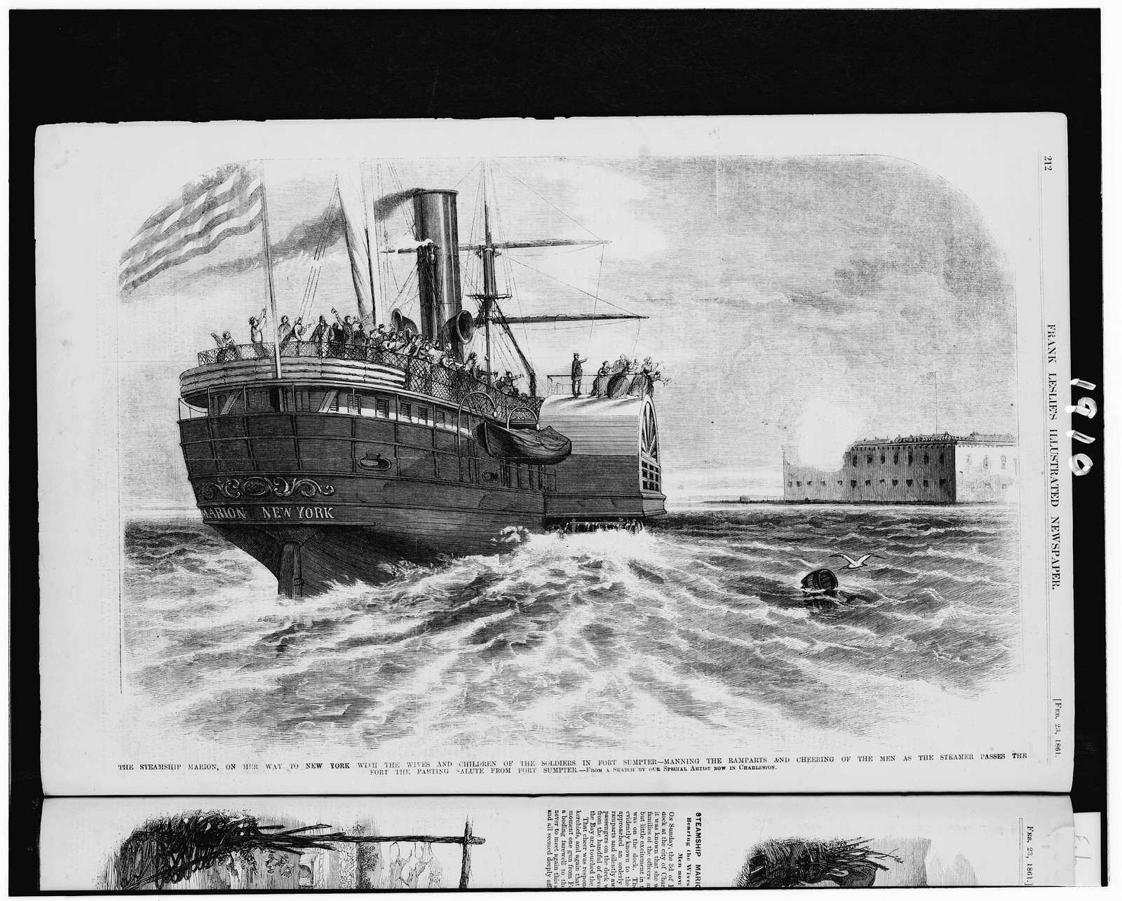 The steamship Marion, on her way to New York with the wives and children of the soldiers in Fort Sumter - manning the ramparts and cheering of the men as the steamer passes the fort the parting salute from Fort Sumpter / from a sketch by our special artist now in Charleston