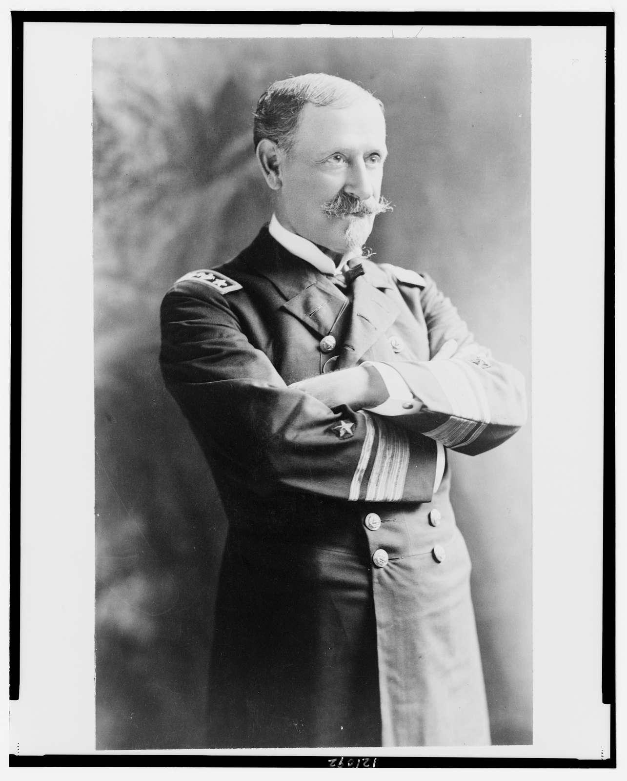 [Winfield Scott Schley, half-length portrait, standing, facing right, in uniform]