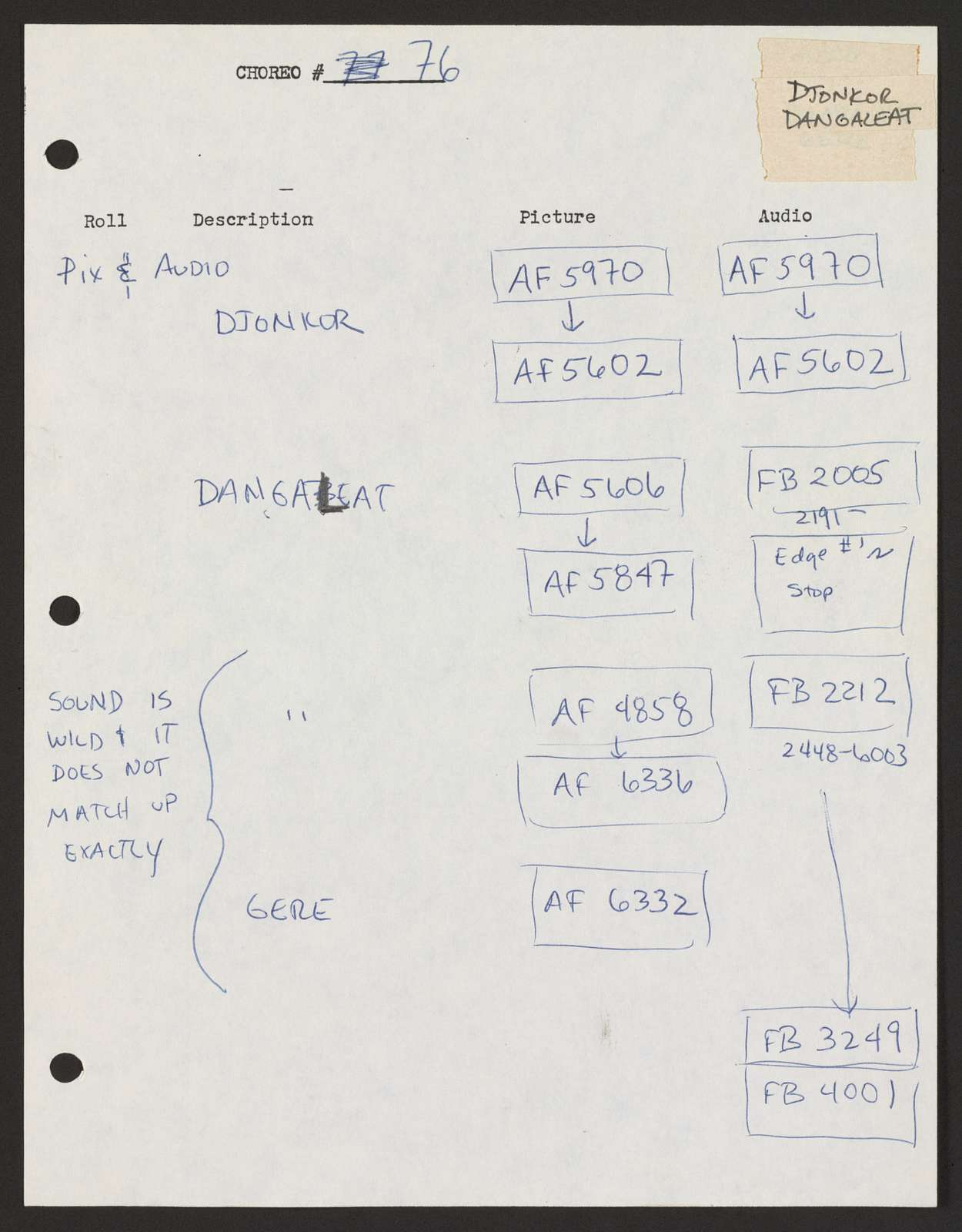 Alan Lomax Collection, Manuscripts, Performance style, Choreometrics, sources, Indexes, New Pix and Audio Log Book, folder 1 of 3