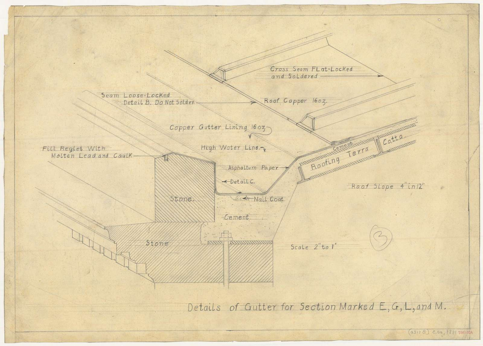"""[Alterations to the Library of Congress Thomas Jefferson Building (""""gutters and battens""""), Washington, D.C. Details of gutter for section marked E, G, L, and M]"""