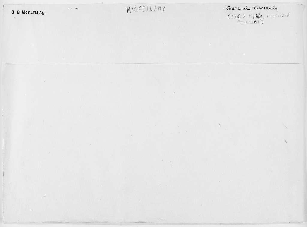 George Brinton McClellan Papers: Miscellany, 1852-1885; McClellan's Bible