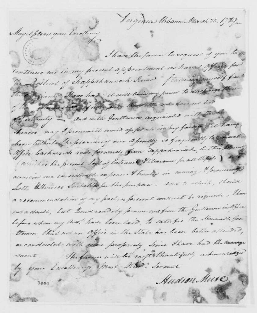George Washington Papers, Series 7, Applications for Office, 1789-1796: Hudson Muse