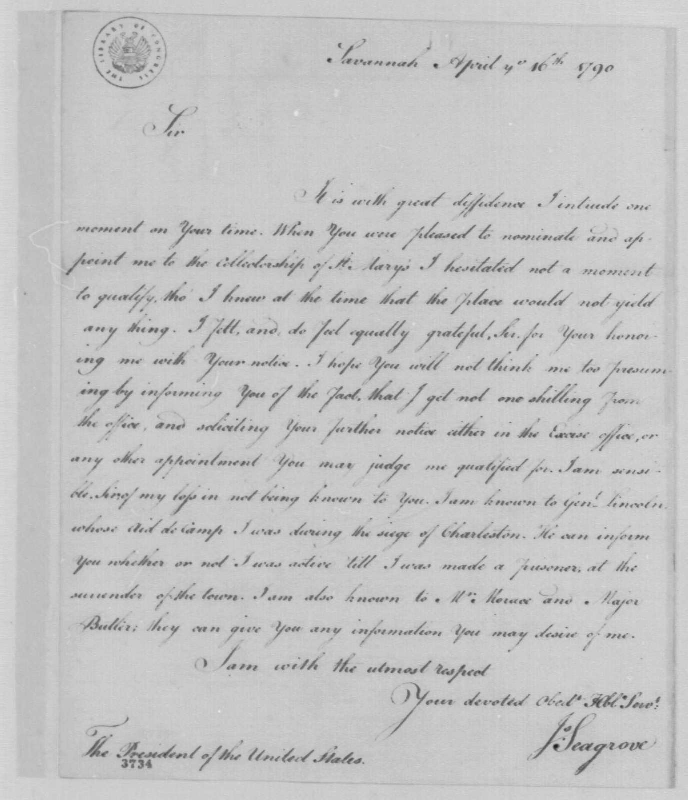 George Washington Papers, Series 7, Applications for Office, 1789-1796: James Seagrove