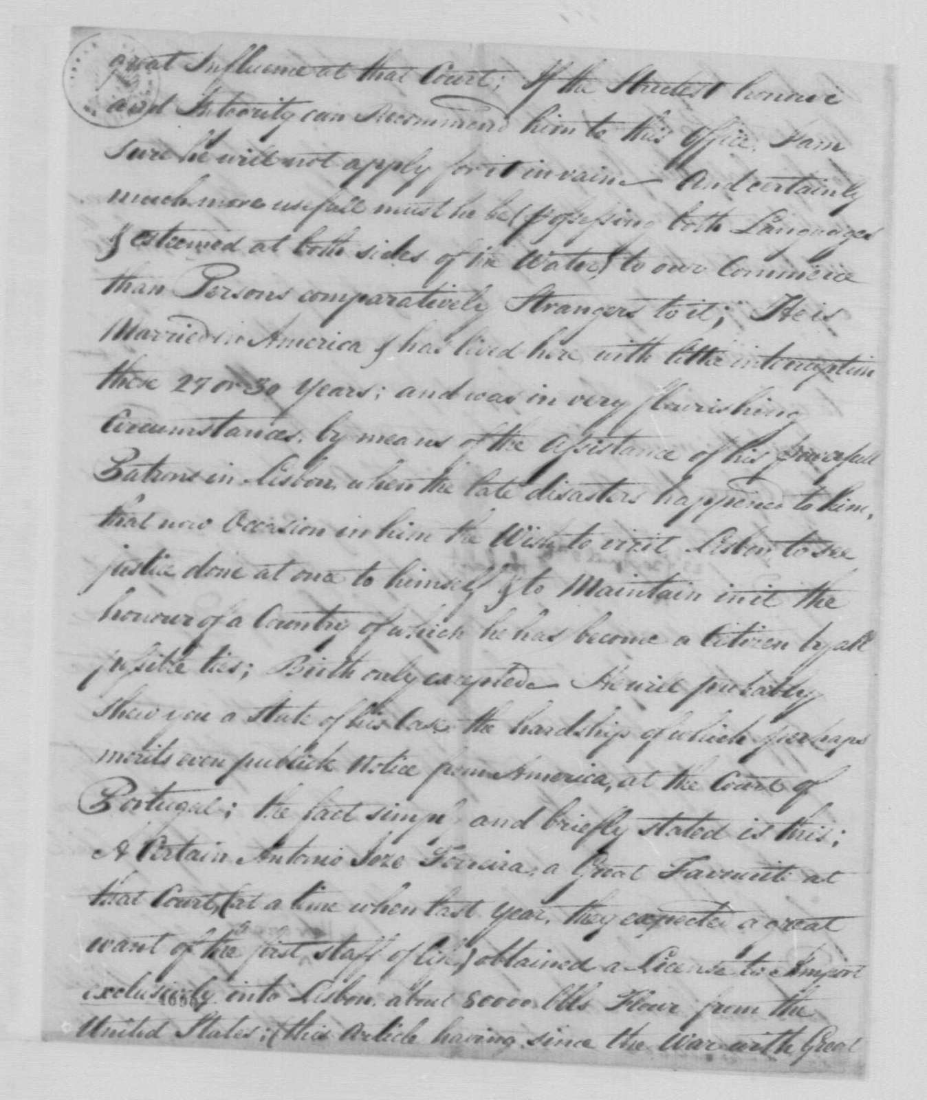 George Washington Papers, Series 7, Applications for Office, 1789-1796: John Swanwick