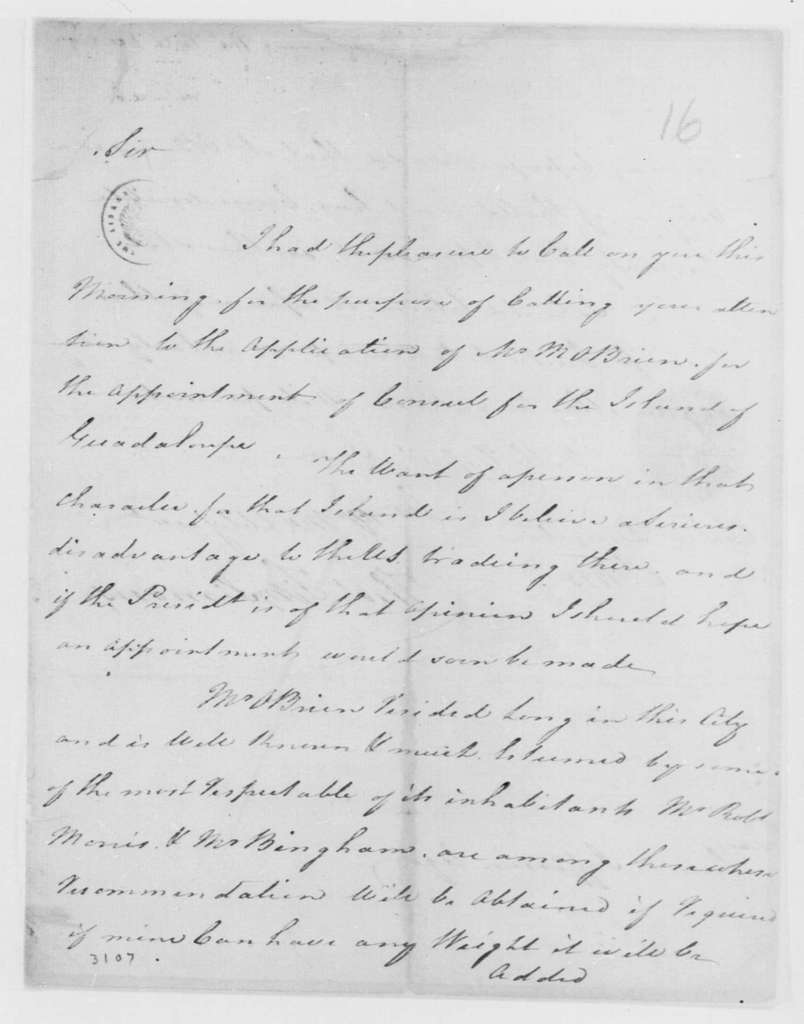 George Washington Papers, Series 7, Applications for Office, 1789-1796: Michael Morgan O'Brien