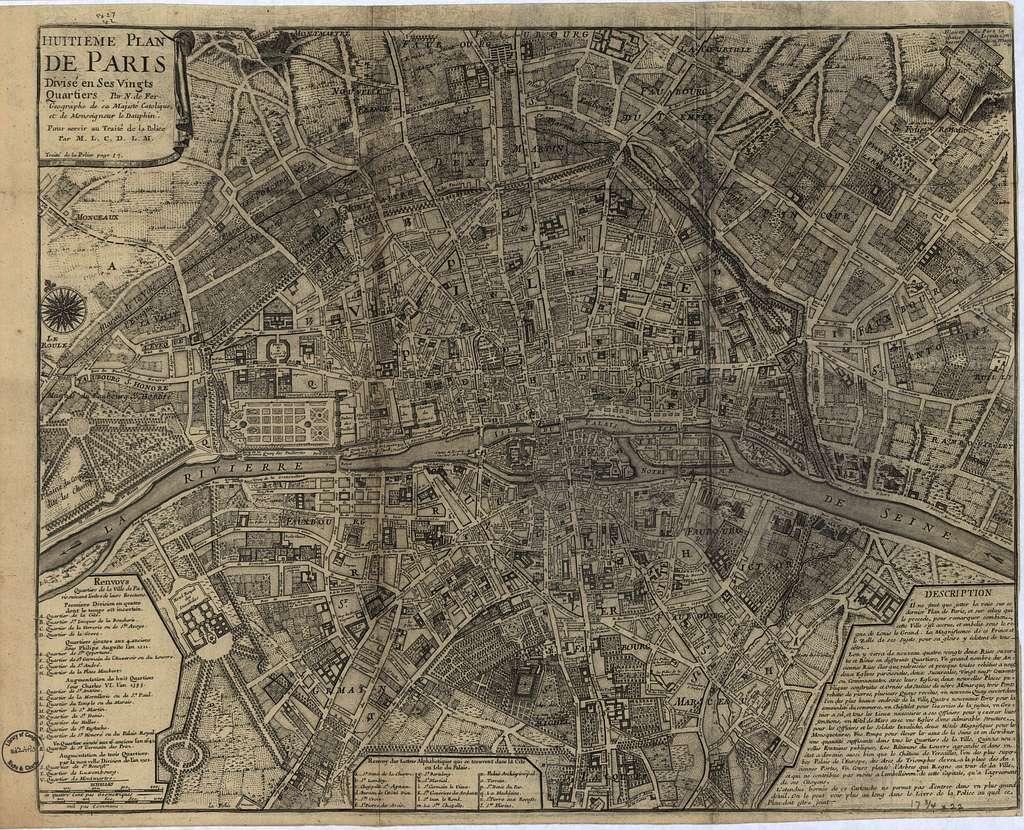 Huitieme plan de Paris divisé en ses vingts quartiers /