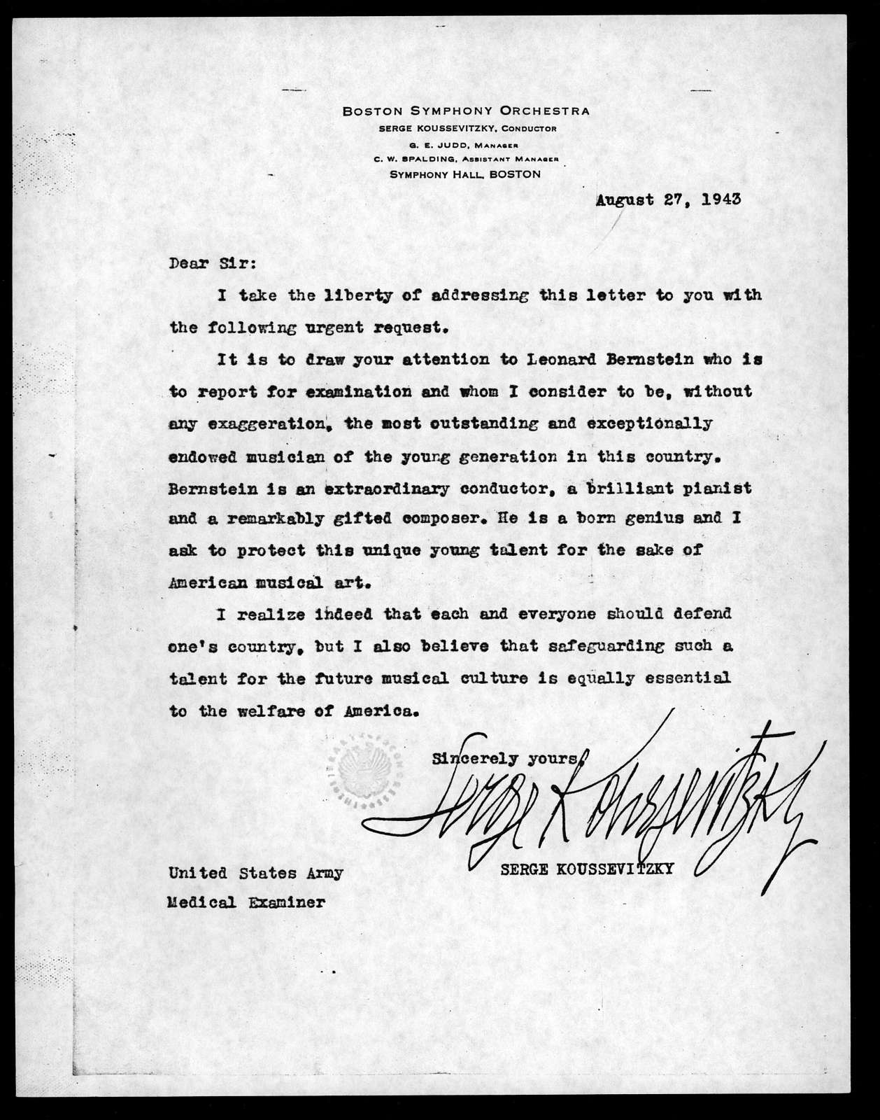 Letter from Serge Koussevitzky to Aubrey Williams, August 18, 1941