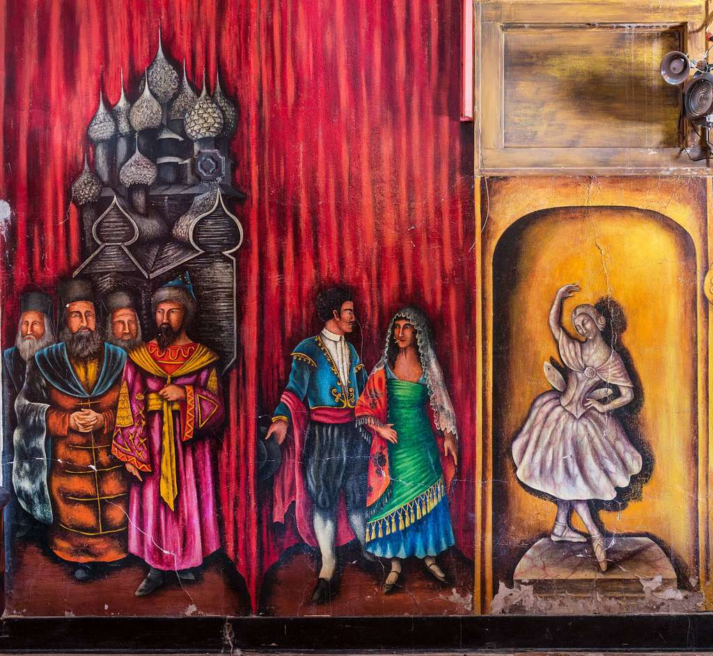 Mural at Amargosa Opera House, a remarkable image from what is largely a ghost town: Death Valley Junction, just outside Death Valley National Park in Inyo County, California