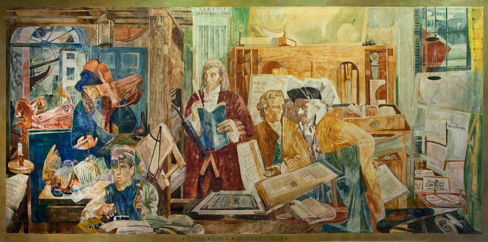 """Mural """"Ben Franklin, colonial postmaster,"""" by George Harding at the Ariel Rios Federal Building in Washington, D.C."""