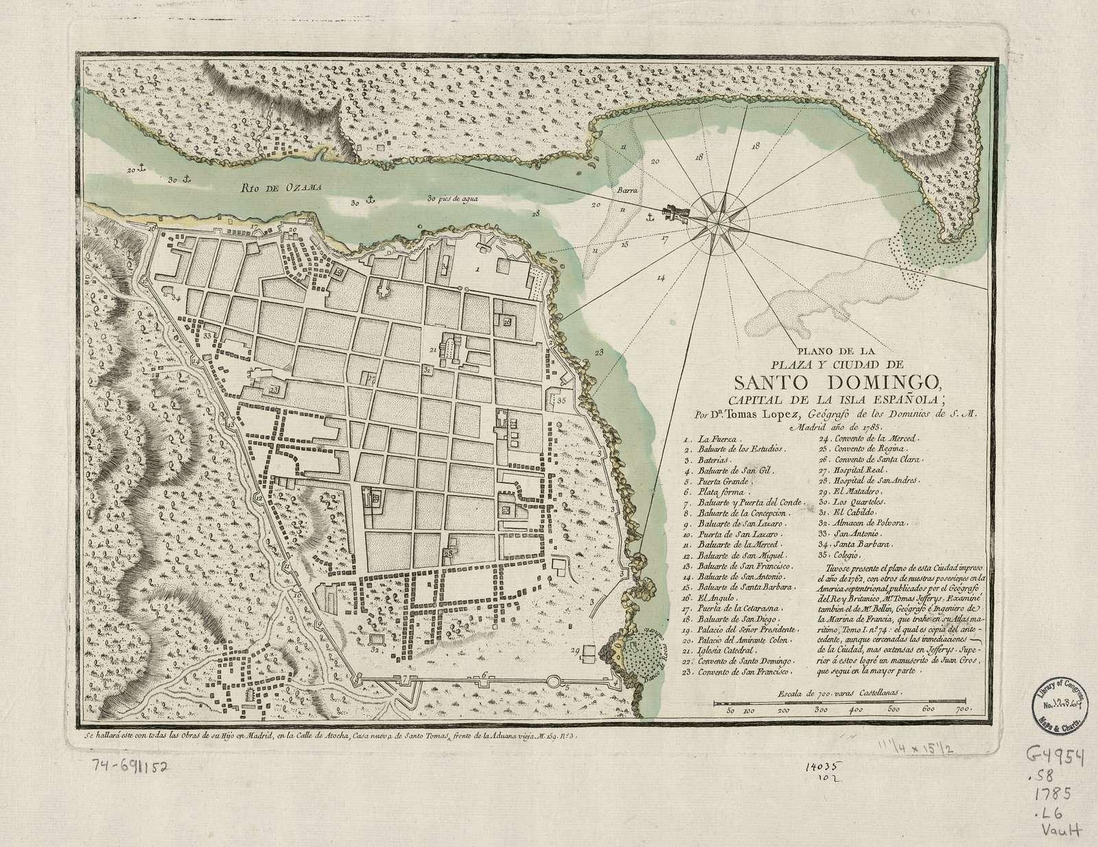 Plano de la plaza y ciudad de Santo Domingo, capital de la isla Española;
