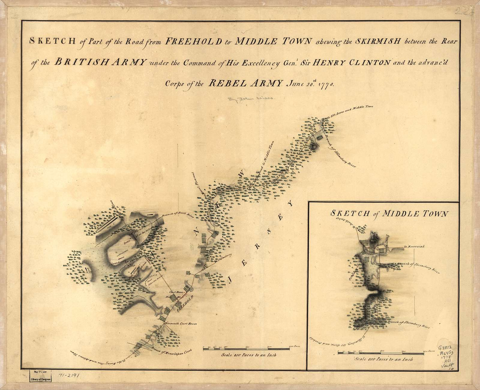Sketch of part of the road from Freehold to Middle Town shewing the skirmish between the rear of the British Army under the command of His Excellency Genl. Sir Henry Clinton and the advanc'd corps of the rebel army, June 28th. 1778. Sketch of Middle Town.
