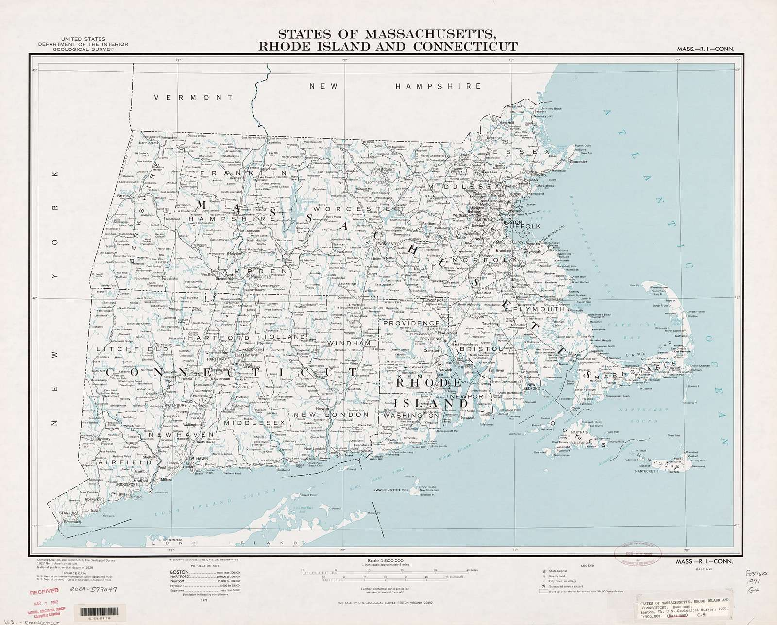 States of Massachusetts, Rhode Island, and Connecticut : base map /
