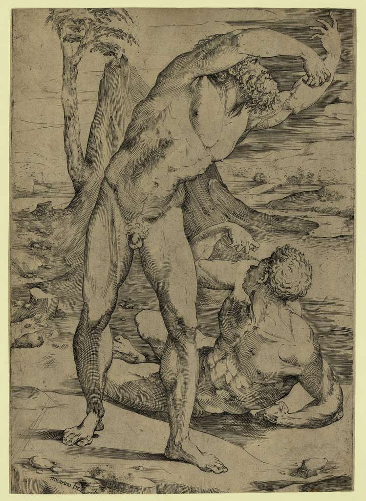 Two nude men: one standing, one reclining / Micarino, fec.
