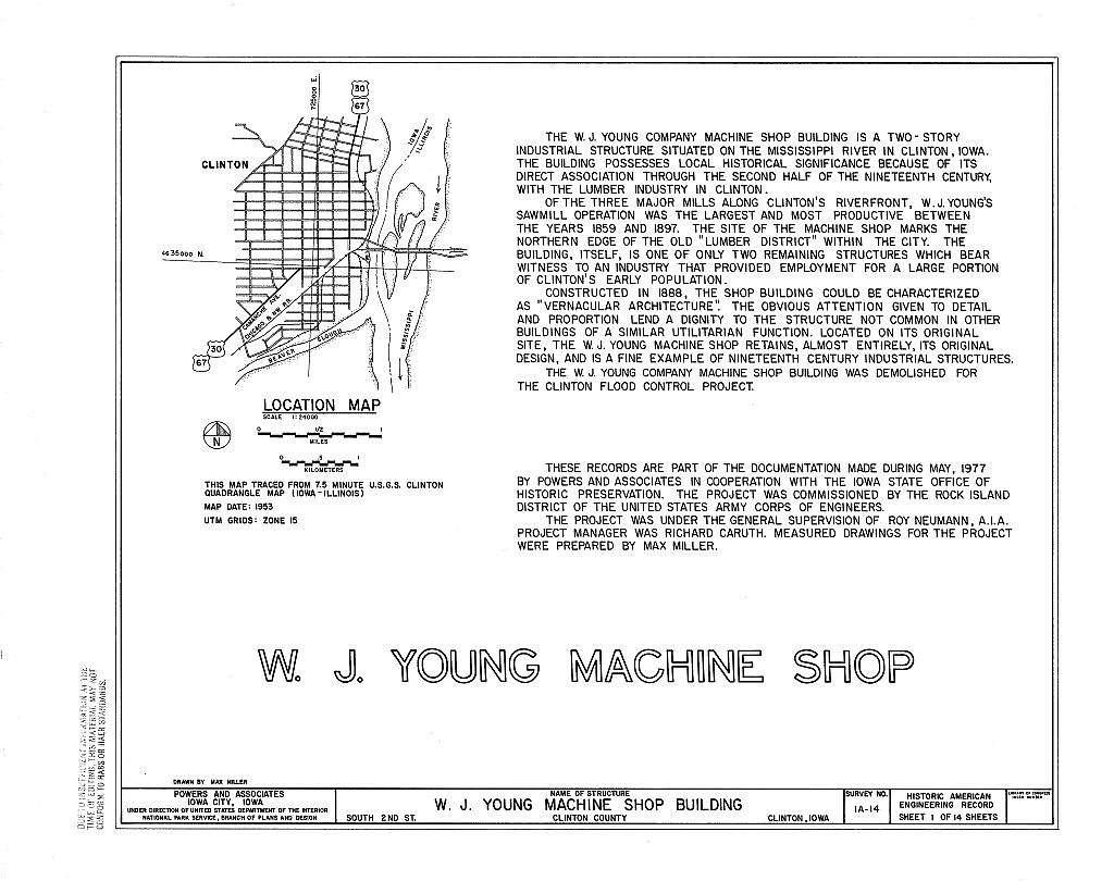 W. J. Young Machine Shop, South Tenth Street & Second Avenue, Clinton, Clinton County, IA