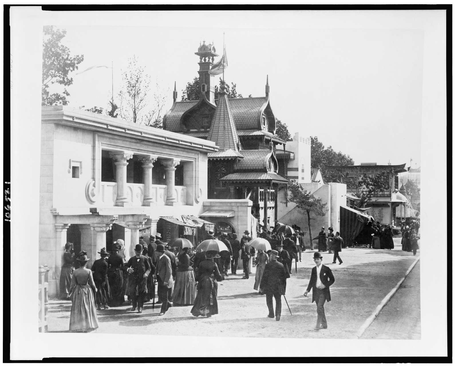 [Byzantine house, Russian house, Arab house, and Japanese house in History of Habitation exhibit, Paris Exposition, 1889]