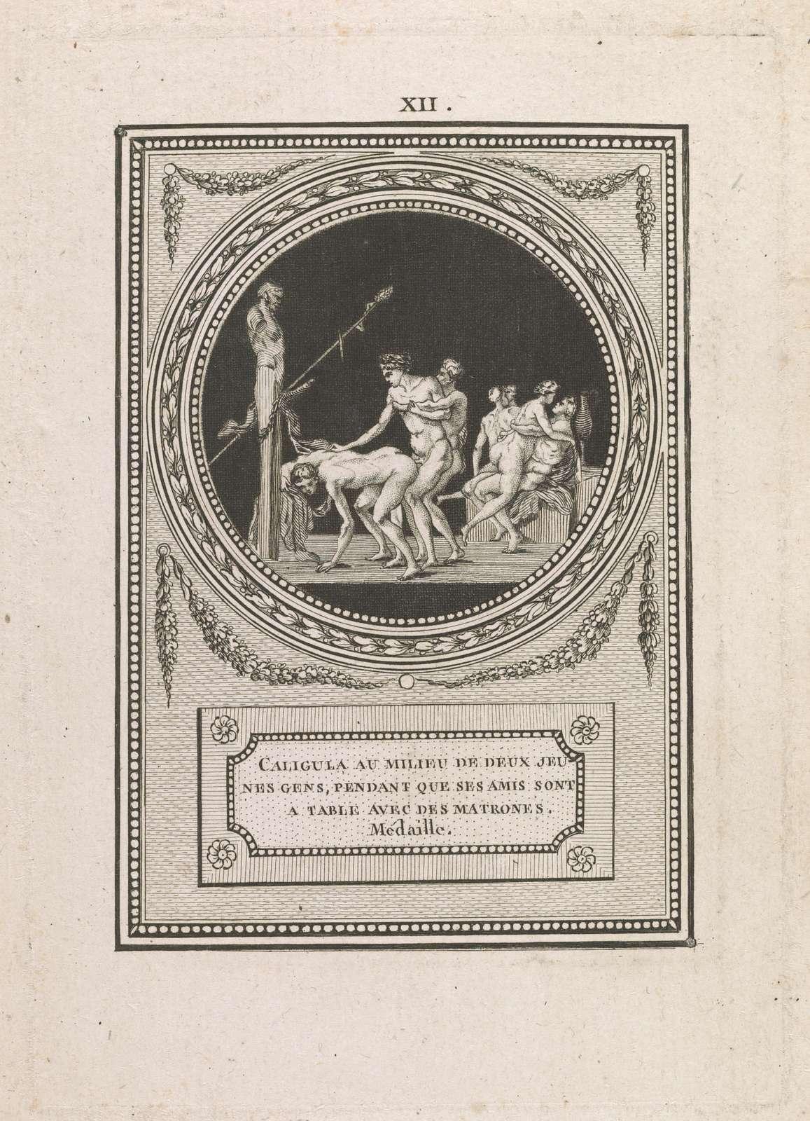 Caligula au milieu de deux jeunes gens, pendant que ses amis sont a table avec des matrones Medaille.