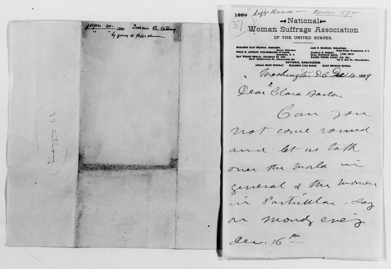 Clara Barton Papers: General Correspondence, 1838-1912; Anthony, Susan B., 1869-1903