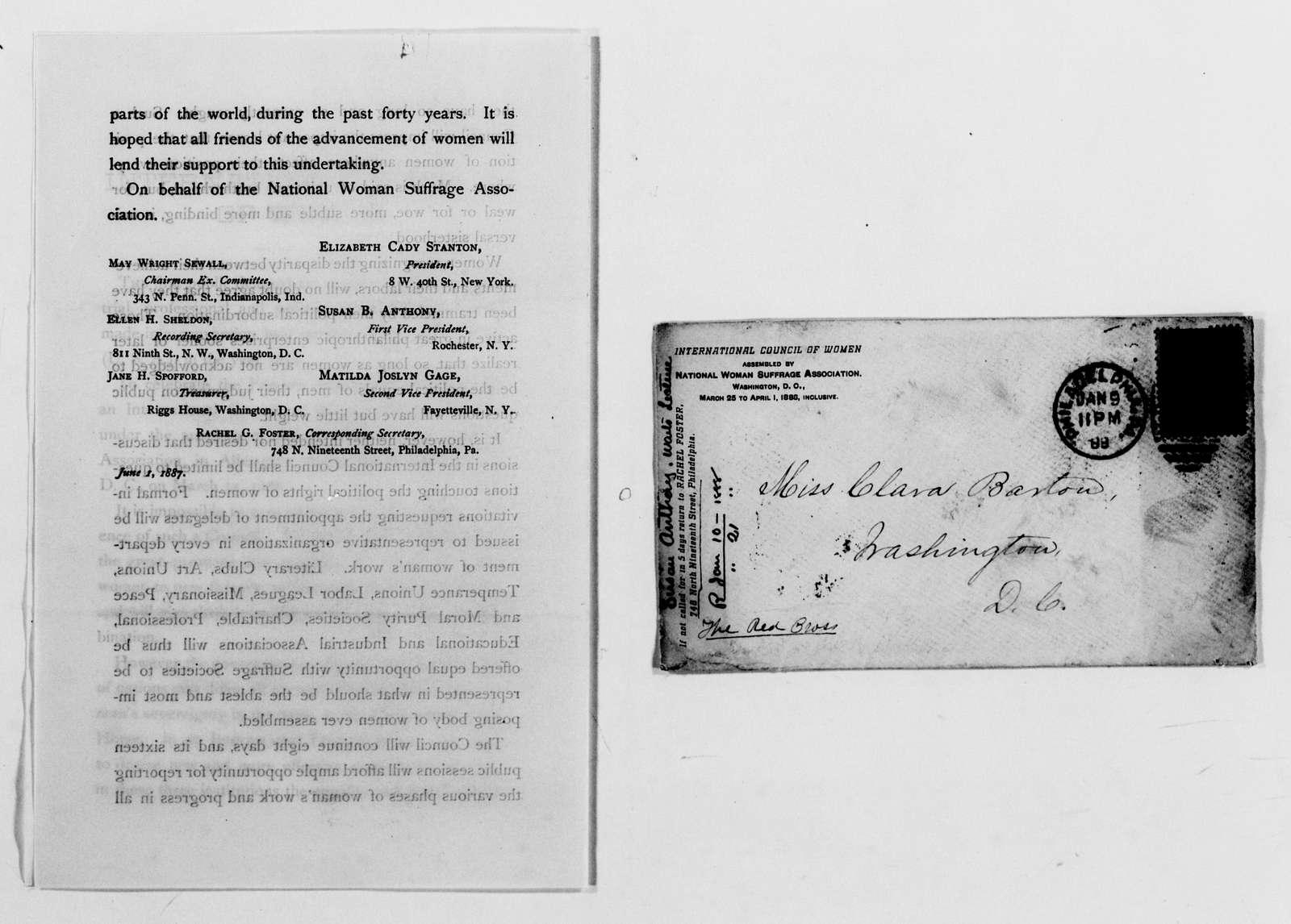 Clara Barton Papers: General Correspondence, 1838-1912; Anthony, Susan B., 1869-1903