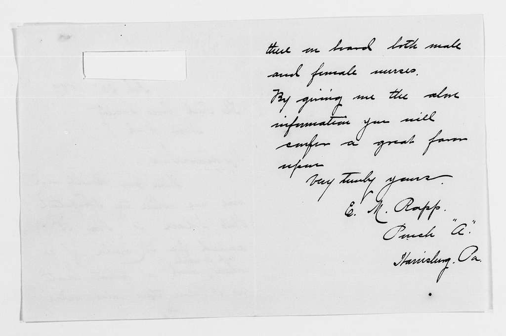 Clara Barton Papers: Red Cross File, 1863-1957; American National Red Cross, 1878-1957; Relief operations; Spanish-American War; Enlistment applications; Nursing staff; 1898, July-1899, undated