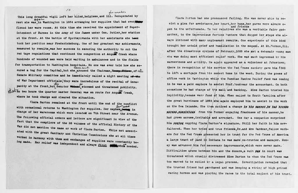 Clara Barton Papers: Speeches and Writings File, 1849-1947; Speeches and writing by others; Books; Bacon-Foster, Corra, Clara Barton, Humanitarian
