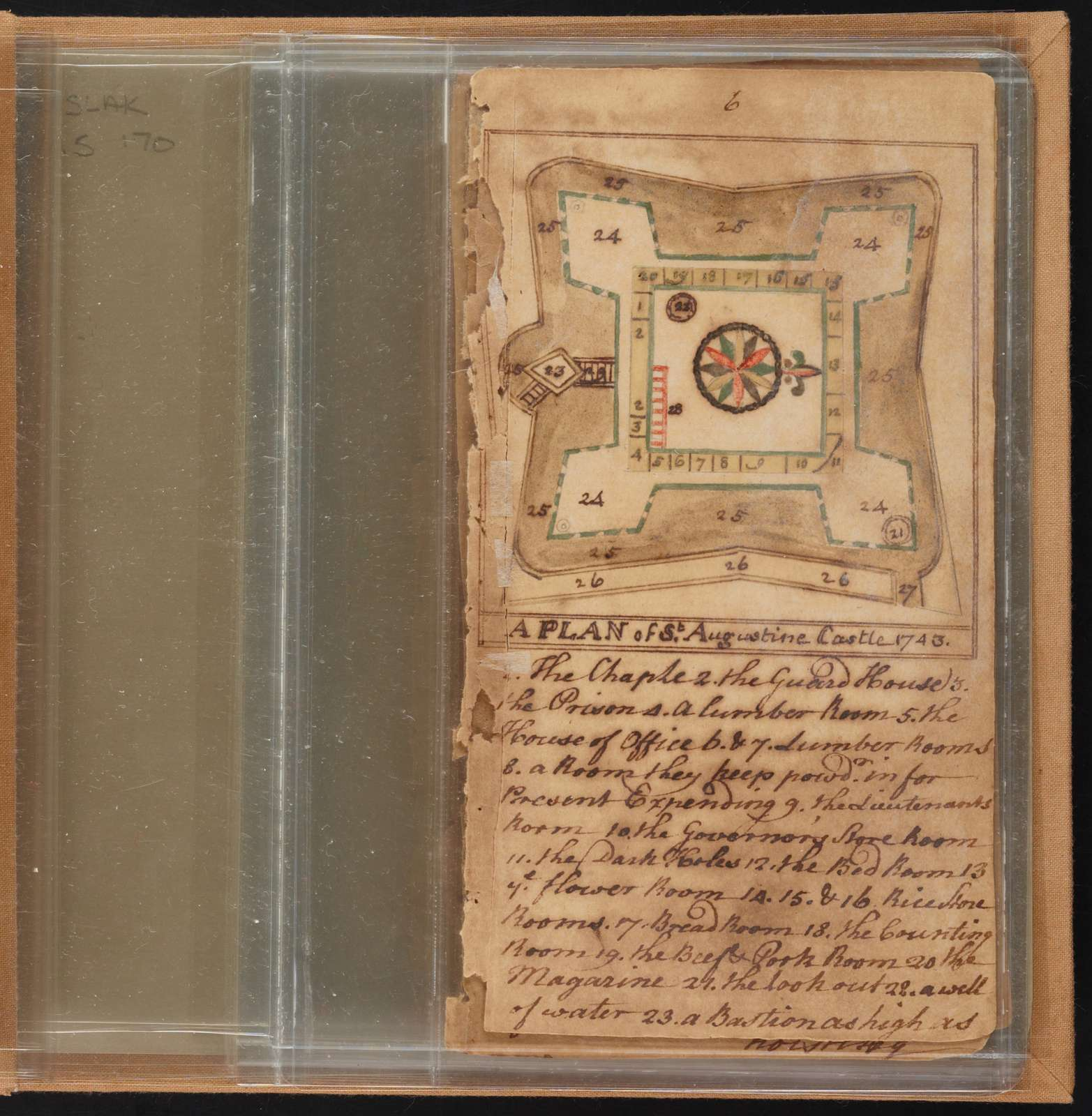 English military report on St. Augustine, with plans and views of St. Augustine Castle, the Spanish watch tower on Anastasia Island, and Matance's Fort,
