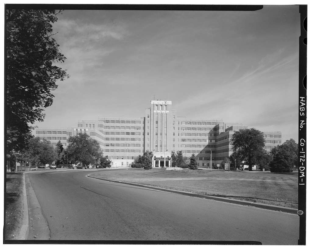 Fitzsimons General Hospital, Main Hospital Building, Charlie Kelly Boulevard, North side, at intersection of Sharon A. Lane Drive, Aurora, Adams County, CO
