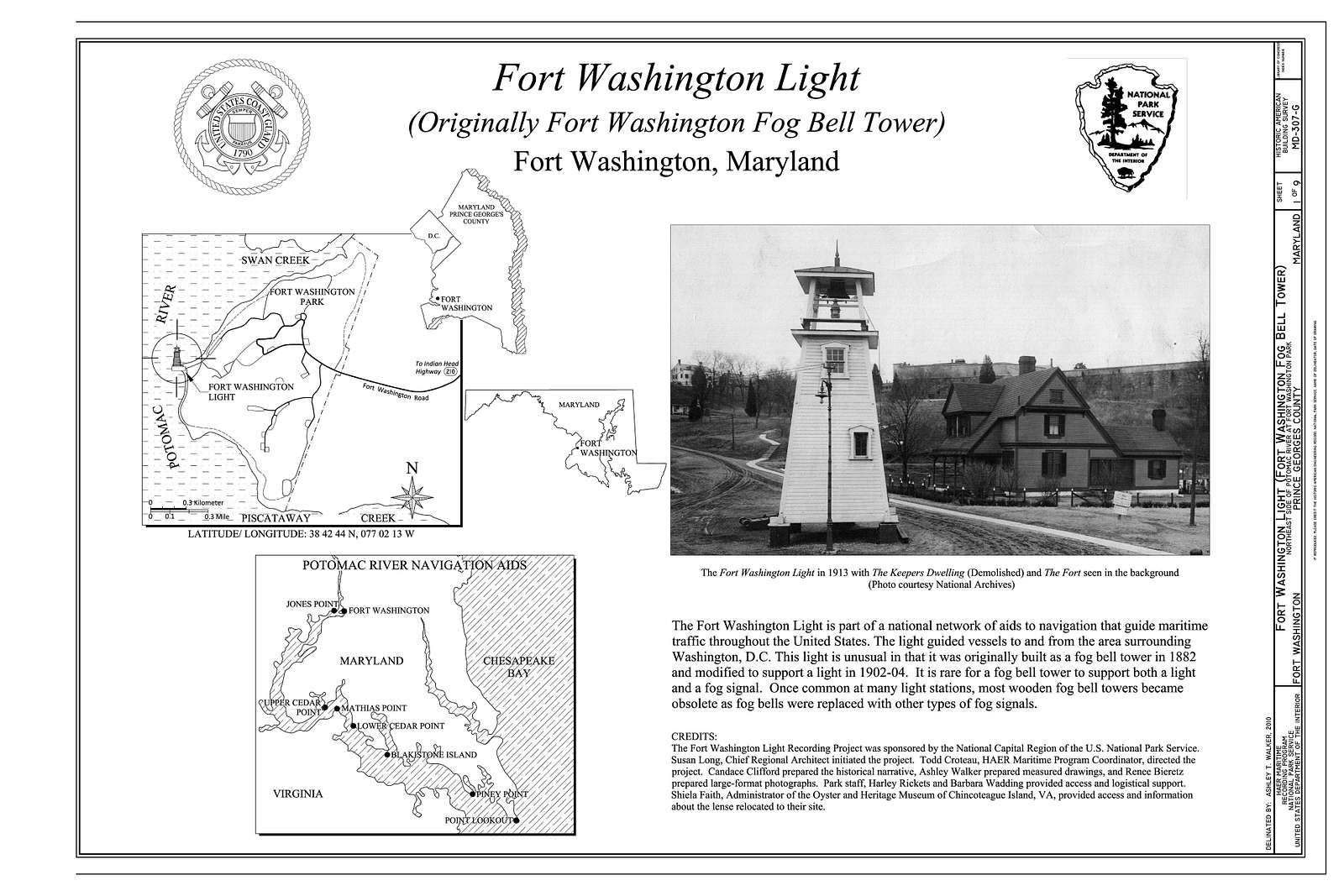 Fort Washington, Fort Washington Light, Northeast side of Potomac River at Fort Washington Park, Fort Washington, Prince George's County, MD