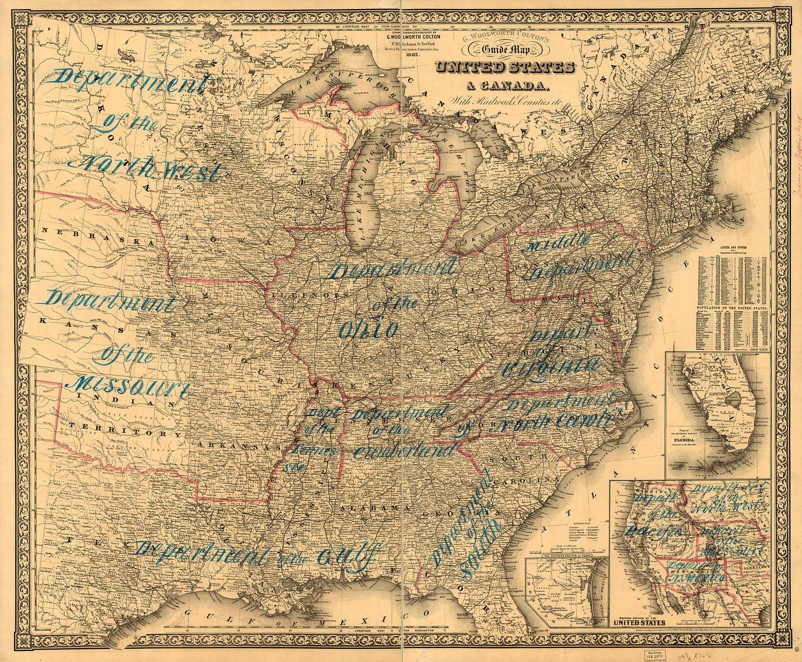 G. Woolworth Colton's new guide map of the United States & Canada, with railroads, counties, etc.