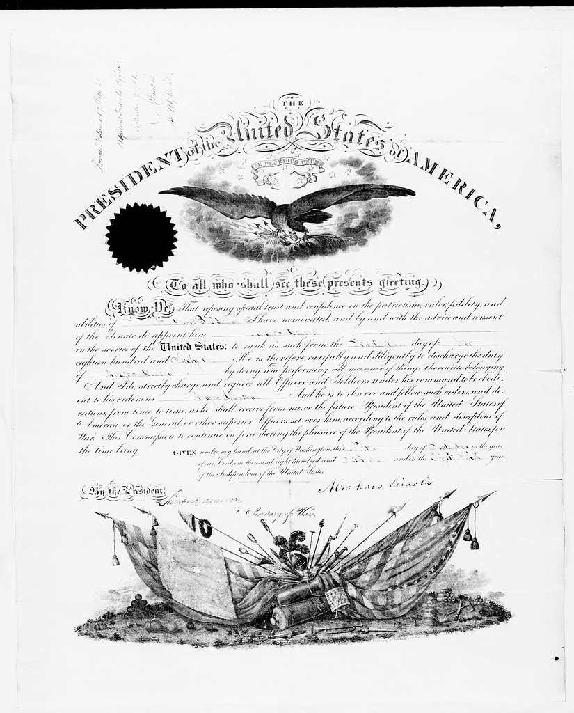 George Brinton McClellan Papers: Miscellany, 1852-1885; Certificates, awards, and citations