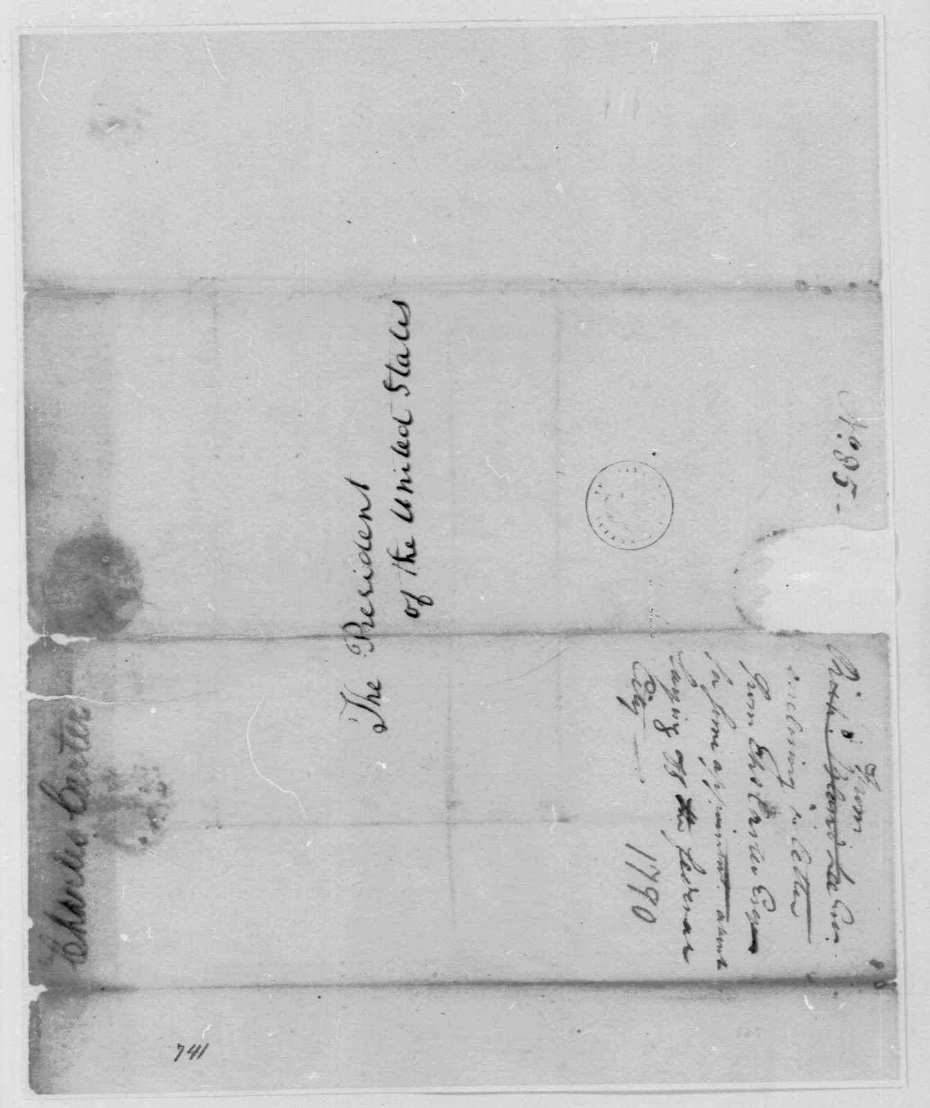 George Washington Papers, Series 7, Applications for Office, 1789-1796: Charles Carter