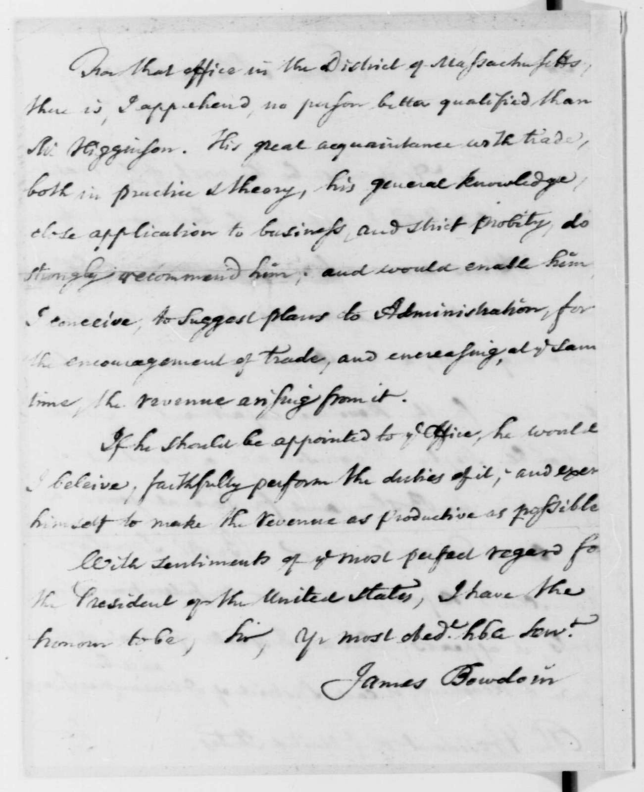 George Washington Papers, Series 7, Applications for Office, 1789-1796: Stephen Higginson