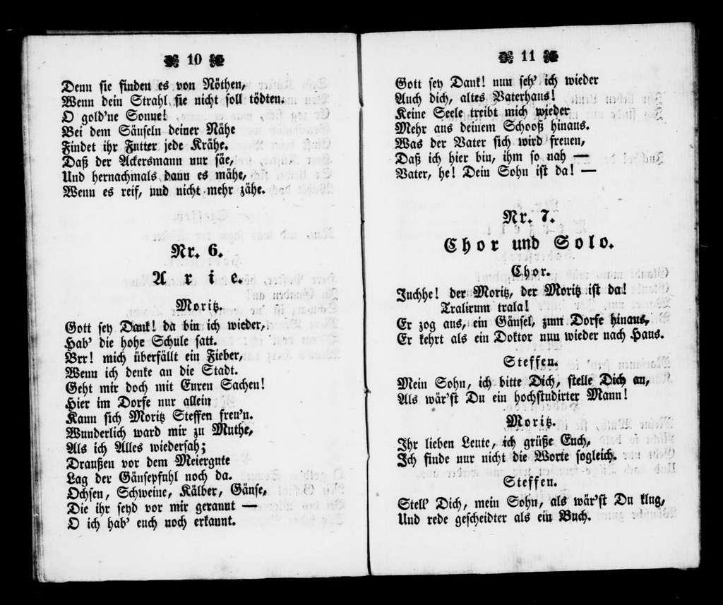 Gesänge aus Es muss ein Gelehrter seyn komisches Singspiel in einem Akt