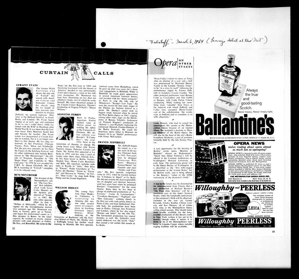 Leonard Bernstein Scrapbook: Vol. 51. Jan. 31, 1964-April 21, 1964