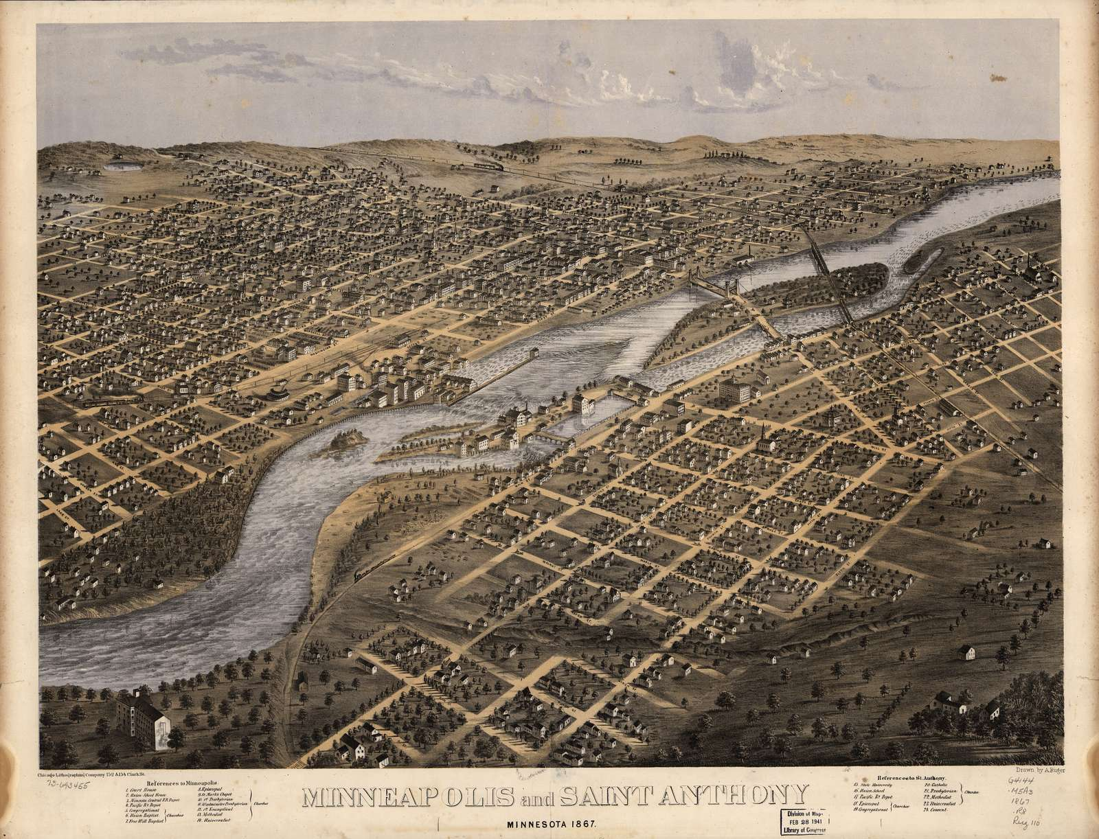Minneapolis and Saint Anthony, Minnesota 1867.