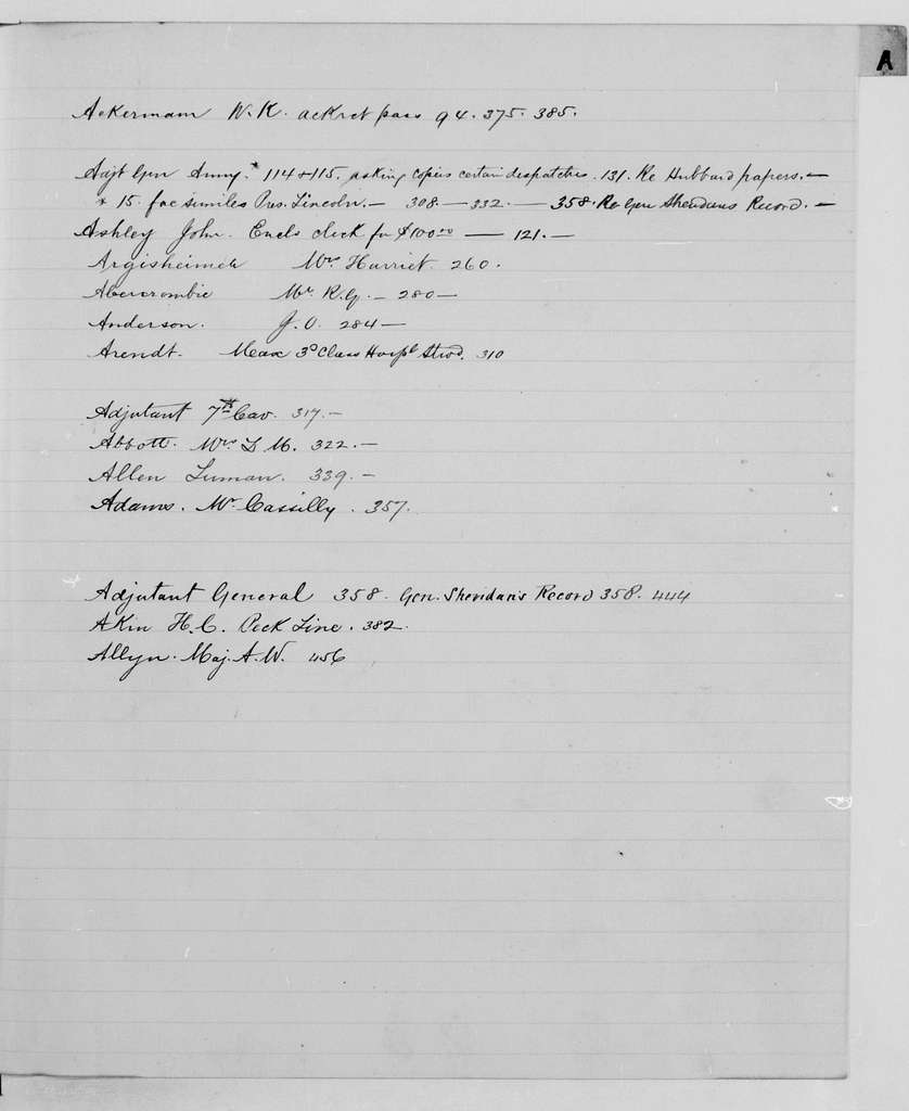 Philip Henry Sheridan Papers: Letterbooks, 1871-1888; Correspondence signed by aides and clerks; 1881, Sept. 15-1884, Oct. 25