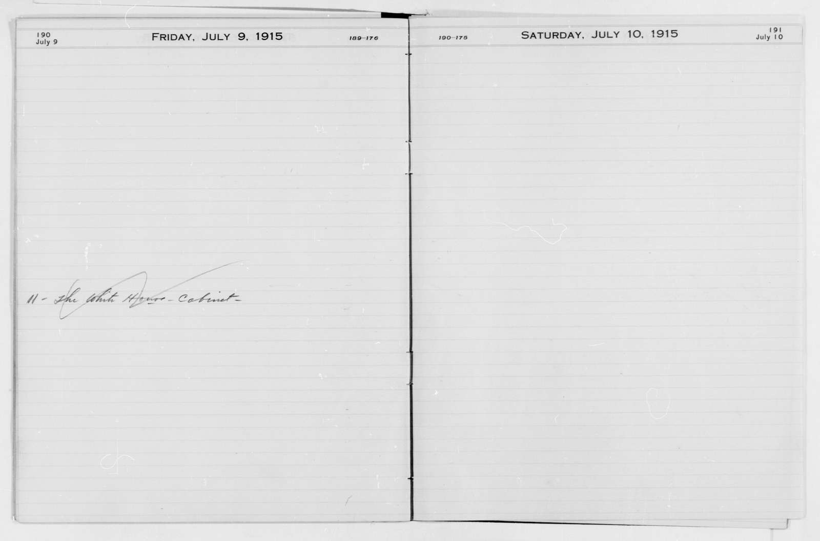 Woodrow Wilson Papers: Series 1: Diaries and Diary Material, 1876-1924; Appointment books; 1915-1924