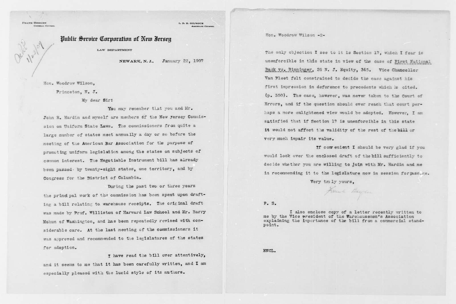 Woodrow Wilson Papers: Series 2: Family and General Correspondence, 1786-1924; 1907, Jan. 22-1908, Mar. 25