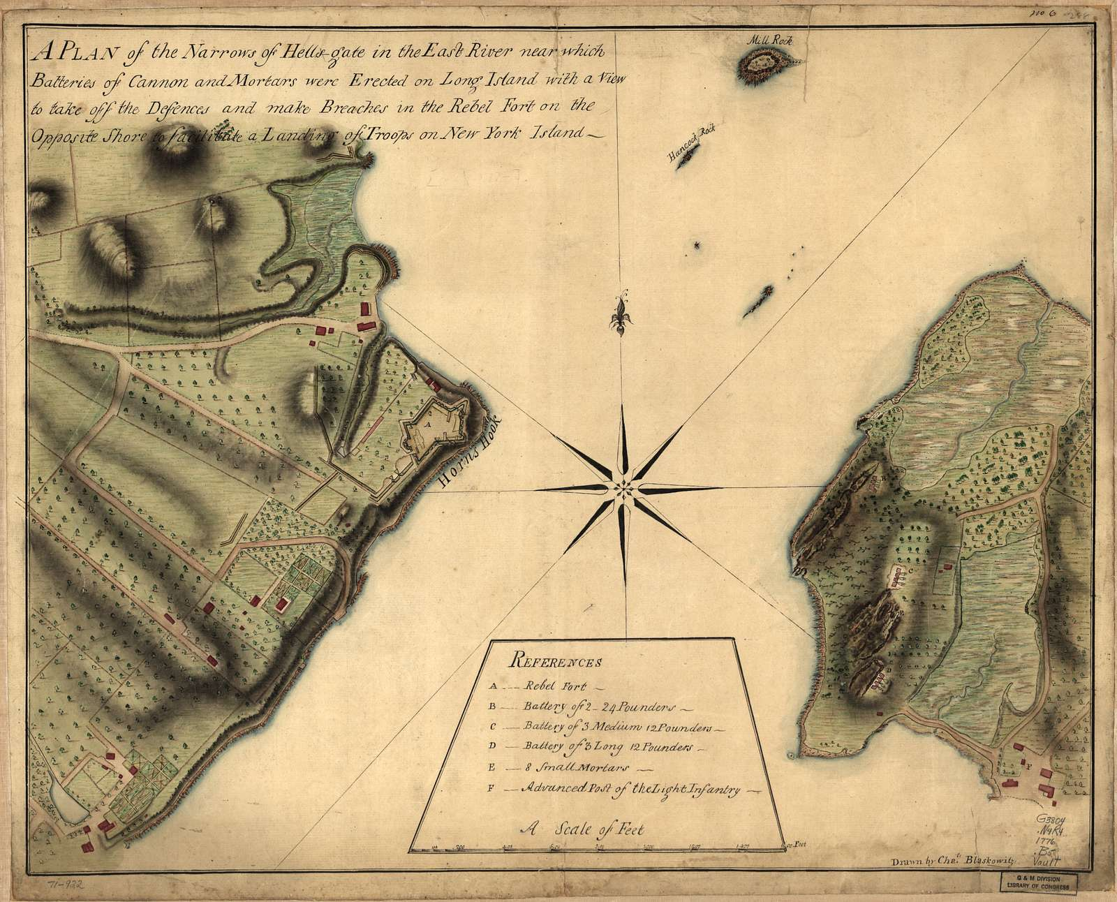 A plan of the Narrows of Hells-gate in the East River, near which batteries of cannon and mortars were erected on Long Island with a view to take off the defences and make breaches in the rebel fort on the opposite shore to facilitate a landing of troops on New York Island.
