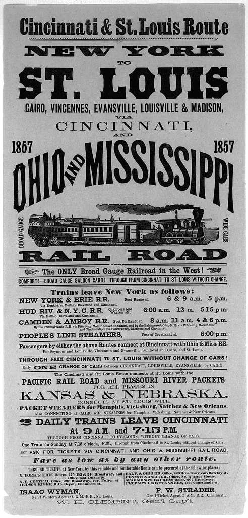 Cincinnati & St. Louis route. New York to St. Louis, Cairo, Vincennes, Evansville, Louisville & Madison, via Cincinnati and Ohio and Mississippi railroad ... St. Louis 1857.