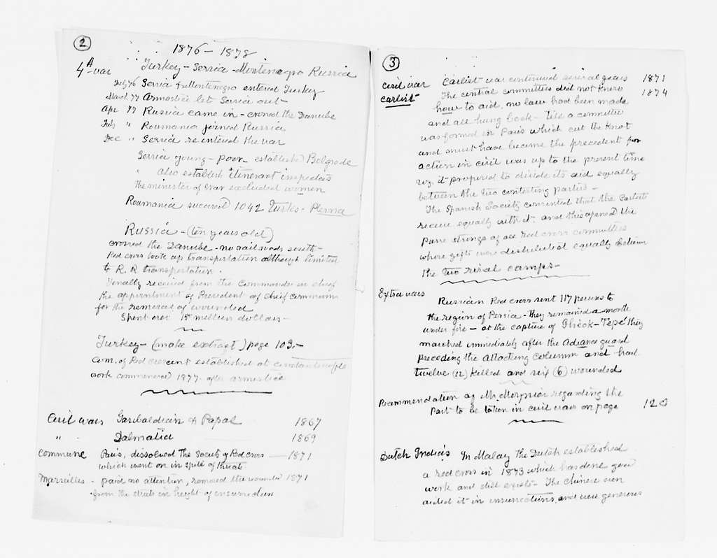 Clara Barton Papers: Miscellany, 1856-1957; Notes and other items, 1868-1911, undated