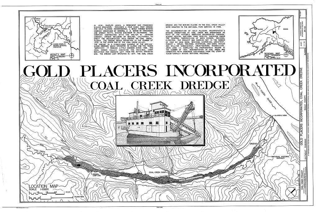 Gold Placers Incorporated, Coak Creek Dredge, Near Coal Creek & Yukon River, Eagle, Southeast Fairbanks Census Area, AK