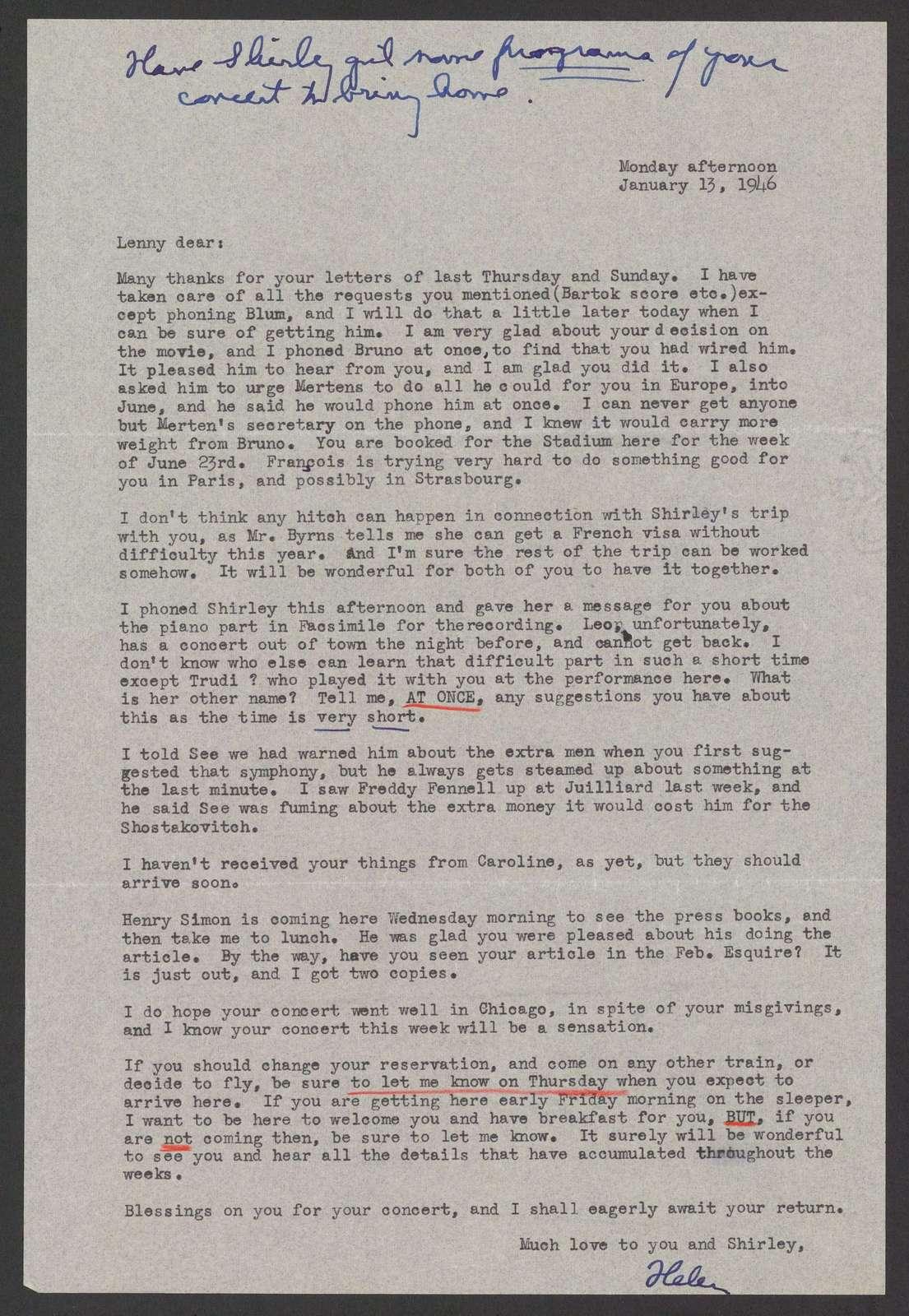 Helen Coates to Leonard Bernstein, January 13, 1946