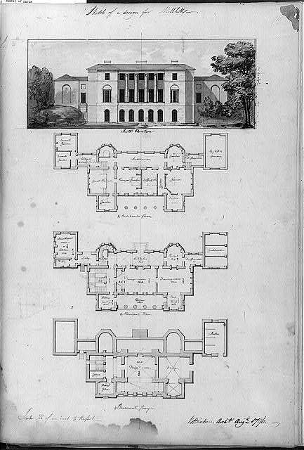 "[Houses and a church (""Buildings Erected or Proposed to be Built in Virginia""). Mill Hill - south elevation and floor plans]"