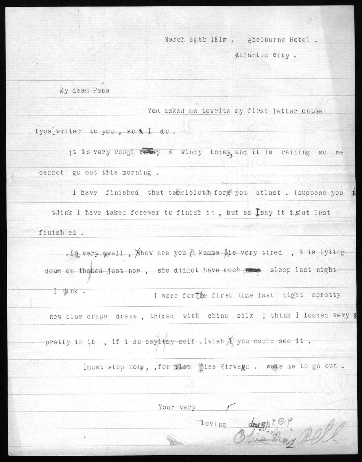 Letter from Elsie Bell Grosvenor to Alexander Graham Bell, March 25