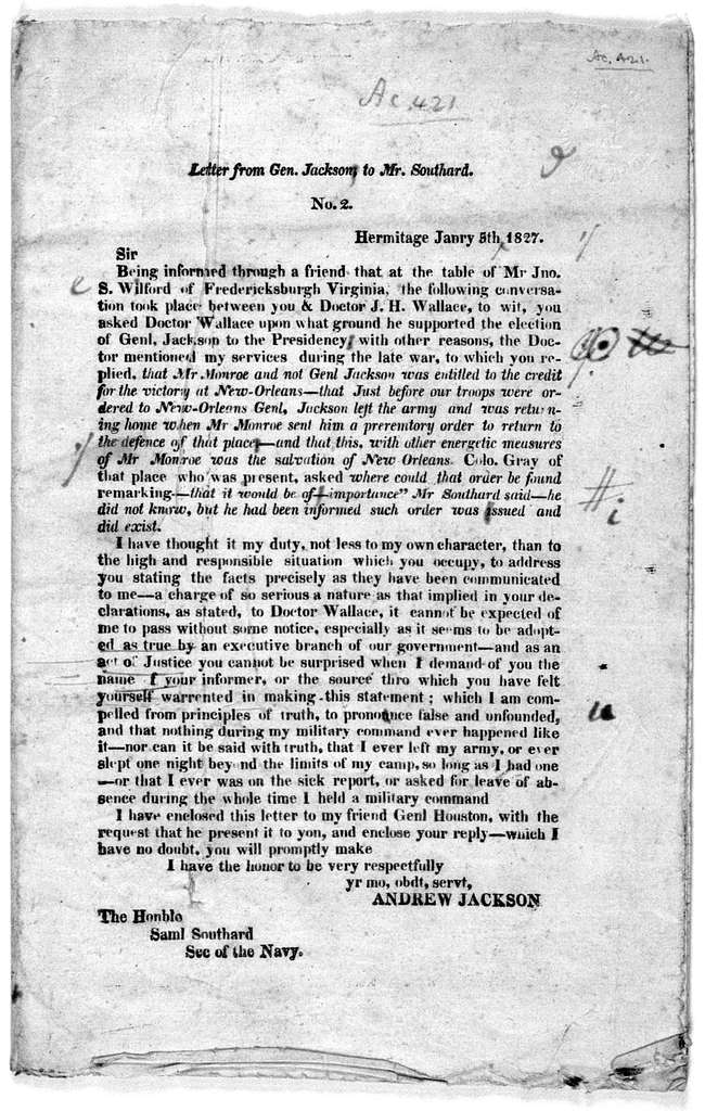 Letter from Gen. Jackson to Mr. Southard [Together with Mr. Southard's answer] [1827].